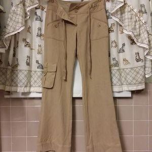 Boston Proper Wide Leg Relaxed Khaki Cargo Pants